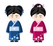 Japanska flickor i kimono royaltyfri illustrationer