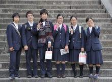 Japanska högstadiumstudenter Arkivfoto