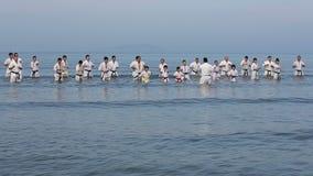 Japanska karatekampsporter som utbildar på stranden stock video