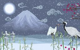 Japanska kranar i vinter på natten mot bakgrunden av ett berg stock illustrationer