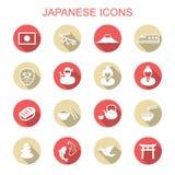 Japanska långa skuggasymboler Royaltyfri Fotografi