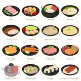 Japanska matsymboler uppsättning, tecknad filmstil vektor illustrationer