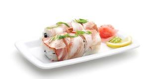 japanska meatrullar för kokkonst Arkivfoto