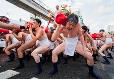 japanska ogiondeltagare för festival Arkivfoton