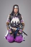 Japanska samurajer med katanasvärdet Arkivfoto