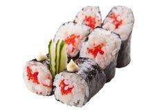 Japanska sushirullar på vit bakgrund Royaltyfria Bilder