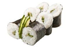 Japanska sushirullar på vit bakgrund Arkivbild
