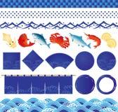 Japanska symboler för havvåg och fiskillustrationer. Royaltyfria Bilder