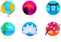 Japanska symboler/logoer Arkivfoto