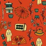 Japanska traditionella natioanalsymboler vektor illustrationer