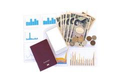 Japanska valutayensedlar, yenmynt, telefon och passnolla Arkivfoton