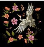 Japanska vita kran- och blommabeståndsdelar Broderivektor royaltyfri illustrationer