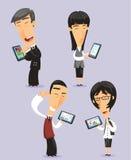 Japanskt affärsfolk som använder minnestavlor stock illustrationer