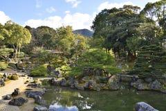 Japanskt dammträdgårdlandskap Arkivfoto