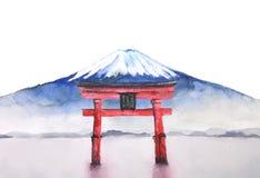 Japanskt fuji för vattenfärg berg och toriiport vektor illustrationer