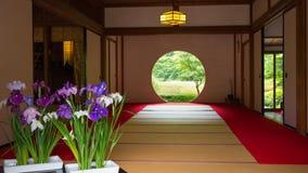 Japanskt hus med det runda fönstret Arkivfoto
