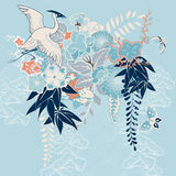 Japanskt kimonomotiv med kranen och blommor vektor illustrationer