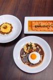 Japanskt kryddigt Tan Tan griskött över ris, laxtatakisallad och H fotografering för bildbyråer