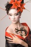 japanskt kvinnabarn Fotografering för Bildbyråer