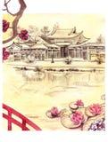 Japanskt landskap med liljan, vattenfärg Royaltyfri Foto