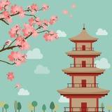 Japanskt landskaptema, sakura blommor, Royaltyfri Fotografi