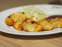 Japanskt mellanmål för mat för Fried Dumplings Gyoza krukaklistermärkear arkivfoto