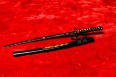 Japanskt samurajWakizashi svärd Arkivfoton