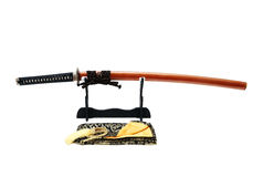 Japanskt svärd på ställning Royaltyfri Foto