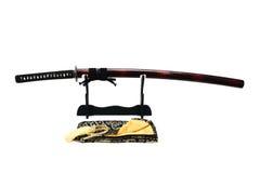 Japanskt svärd på ställning Arkivfoto