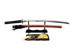 Japanskt svärd på ställning Royaltyfri Fotografi