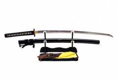 Japanskt svärd på ställning Arkivfoton