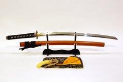 Japanskt svärd på ställning Royaltyfri Bild