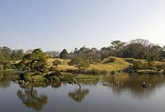 Japanträdgård av Suizen-ji i den Kumamoto prefekturen, Japan Arkivbilder
