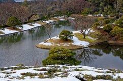 Japanträdgård i vinter, Kyoto Japan Royaltyfri Foto