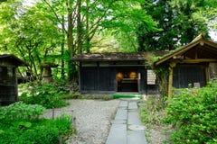 Japanträdgård med gröna träd i sommar Royaltyfri Foto