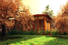 Japanträdgård och ett hus Arkivfoton