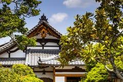 Japanträdgård, sikt av den japanska stenträdgården, Arkivbilder