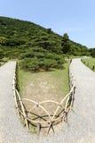 Japanträdgården med sörjer träd Arkivbild