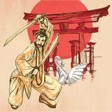 japón Un guerrero, sintoísta, cisne Una imagen dibujada mano del vector L Fotografía de archivo