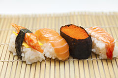 Japnese sushi on bamboo Stock Photography
