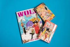 Japończyka Manga strój jednoczęściowy - komiks publikujący w Tygodniowym Shonen Skacze magazyn obraz royalty free