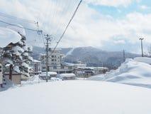 Japońska zimy scena w Zao obrazy royalty free