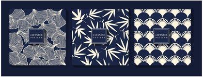 Japoński błękita wzoru tło ilustracji