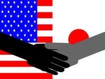 japończycy amerykański uścisku dłoni ilustracja wektor