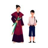 Japończycy - samurajowie w dziejowym kostiumu i typowym uczniu royalty ilustracja