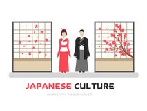 Japończycy z kultura odzieżowym wektorowym ilustracyjnym symbolem protestują Płaski ikona stylu pojęcia projekt ilustracja wektor