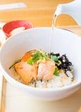 Japończyków gotowani ryż, Ochazuke Zdjęcia Stock