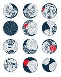 Japończyk chmury projekt dla tatuażu Chińczyk chmury tatuaż dla tylnego ciała kreskowego rysunku kolorystyki książki wektoru wize ilustracja wektor