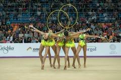 Japończyk drużyna z obręcze i buławy Fotografia Royalty Free
