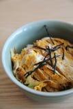Japończyk głęboka smażąca wieprzowina z jajkiem na ryż, Katsudon na drewna bac Zdjęcia Stock